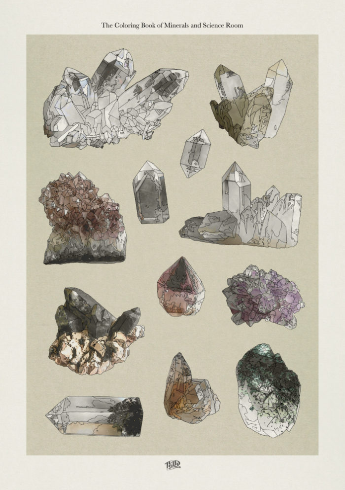 ルーチカ『鉱物と理科室のぬり絵』